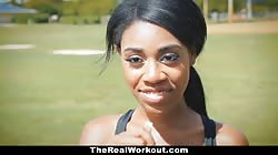 TheRealWorkout - Curvy Ebony Rides White Cock After Workout